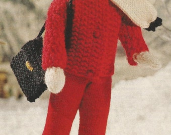 """Vintage knitting pattern for Winter Outfit for 12"""" Sindy type fashion doll [DOWNLOAD]"""