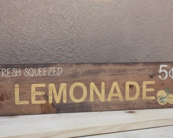 Fresh Squeezed Lemonade wood sign