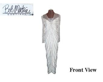 Vintage Bob Mackie Ecru Beaded Gown