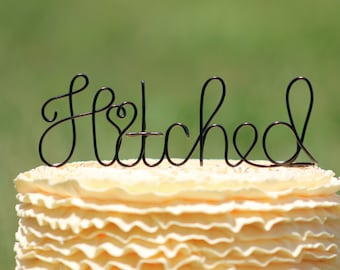Black Wire Hitched Wedding Cake Toppers - Decoration - Beach wedding - Bridal Shower - Bride and Groom - Rustic Country Chic Wedding