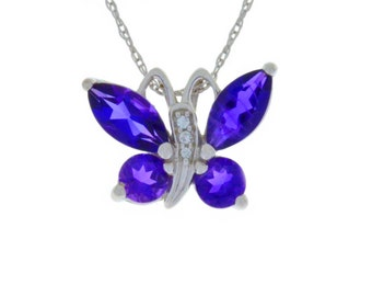 2 Ct Natural Amethyst Butterfly Pendant .925 Sterling Silver Rhodium Finish