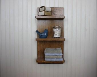 Cottage Wall Shelf - Tiered Wall Shelf with Three Small Shelves - Bathroom Storage - Hallway Decor