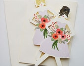 "Paper Doll Cards ""Will you be my Bridesmaid? {Set of 3 dolls}"