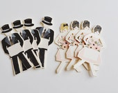 Paperdoll Wedding Placecards Set of 50 Guys and Dolls