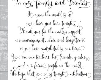 Wedding Gift Thank You Poems For Guests : ...Thank You Poem Printable Sign 8x10