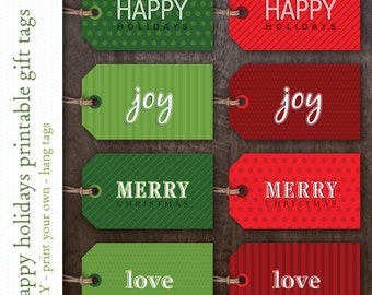 Printable Holiday Gift Tags - Instant Download Christmas Gift Tags - Red and Green Holiday Gift Labels - Joy - Love - Merry - Happy