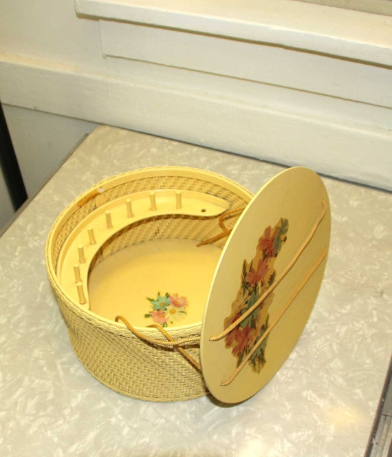 Vintage Pastel Yellow with Floral Decals Princess of Algonquin Wicker Sewing Basket Sewing Kit
