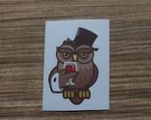 Wine Owl Sticker, 100% Waterproof Vinyl Sticker, Pop Culture Sticker, 3M Sticker