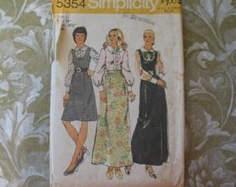 Vintage 70s Simplicity Pattern 5354 Maxi Dress Blouse 12