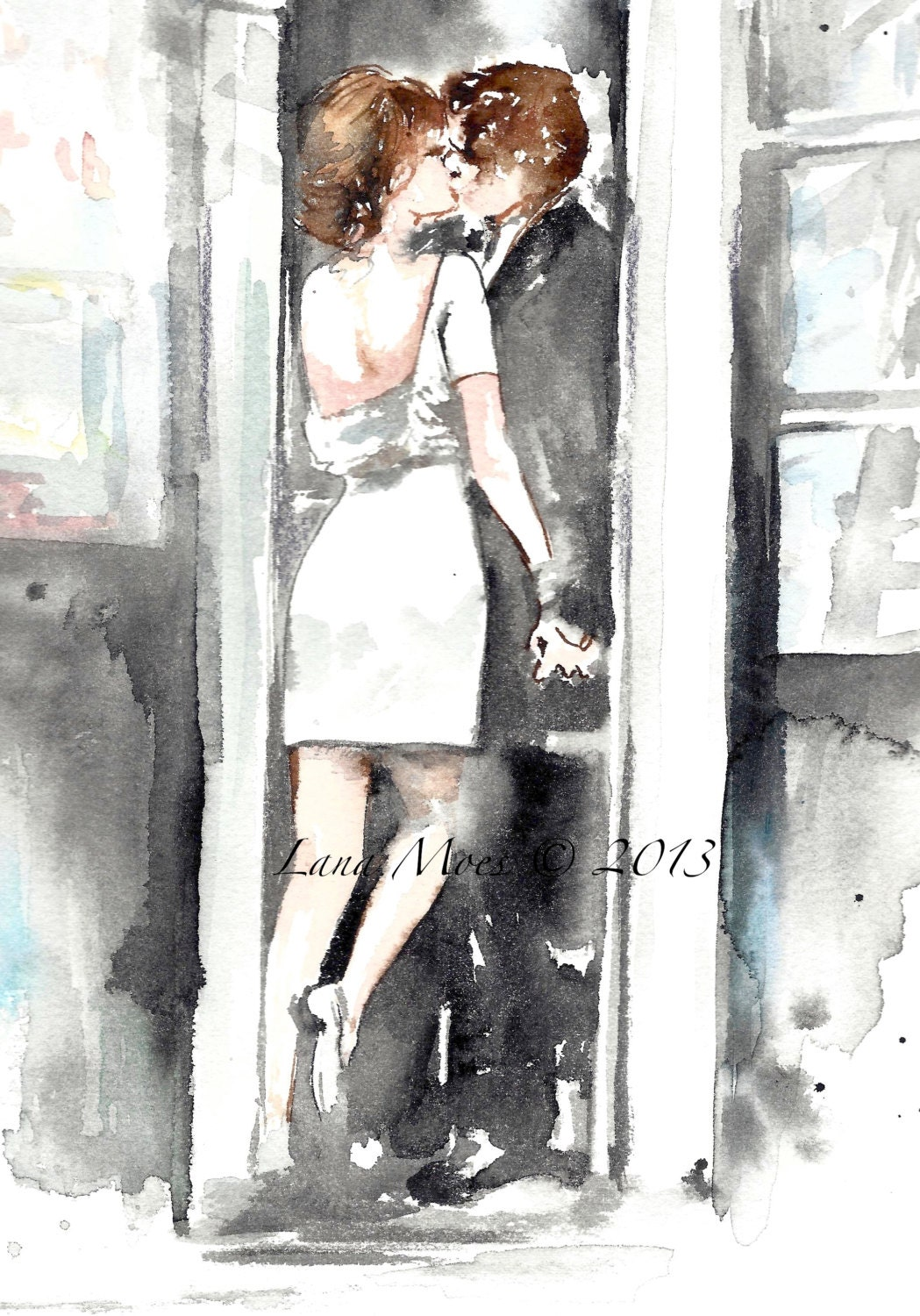 Love Romance Kiss Art Print From Original Watercolor Painting