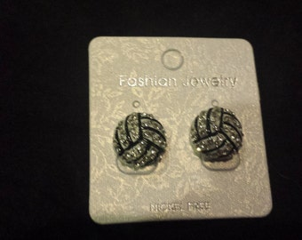 Volleyball Dome Shaped Stud Earrings