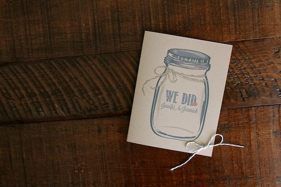 Kraft Mason Jar Ball Jar Personalized WE DID Thank You Wedding Note Cards. Stationery. Stationary. Set of 10