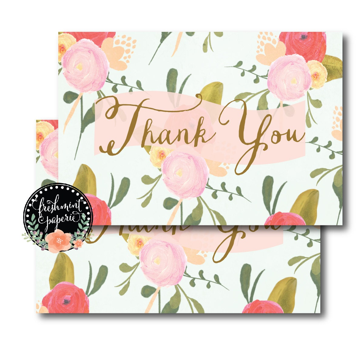 Printable Thank You Cards Instant Download Calligraphy