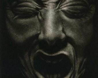 """Macabre Face Intaglio Print, """"Hiding No. 21"""""""