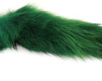 Bright Green Animal Tail Butt Plug With Silicone Plug Bdsm