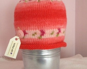 Hand-knitted baby girls beanie hat - fairisle - pink