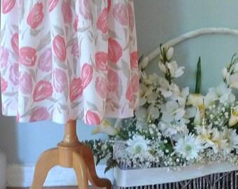50's Floral Skirt, Full Floral Skirt. Audrey Hepburn Skirt, Women's Linen Skirt, Summer Skirt, Pleated Skirt, Pink Floral Skirt, Full Skirt