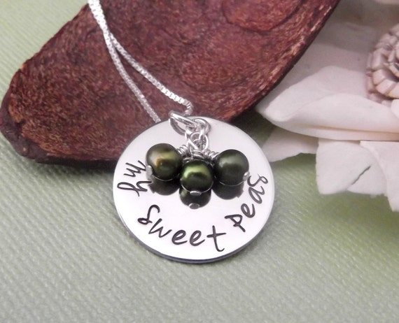 My Sweet Peas- Hand Stamped Mommy Jewelry/ Grandma Jewelry- Peas in a pod necklace