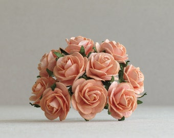 25mm Peach Paper Roses - 10 mulberry paper flowers with wire stems [135]