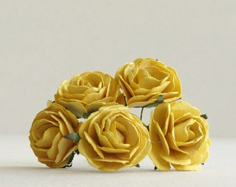35mm Large Mustard Yellow Paper Roses (5pcs) - Mulberry paper flowers with wire stems - Great as wedding decoration [144]
