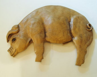 Vintage Pig Wall Plaque / Wall Hanging