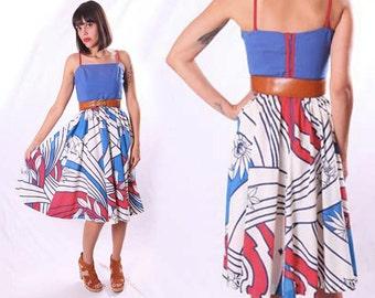 Vintage 1970s Lanz White Red Blue Floral FESTIVAL Graphic Op Art Abstract Sheer Full Skirt Pocket Sundress Sun Dress Xs S