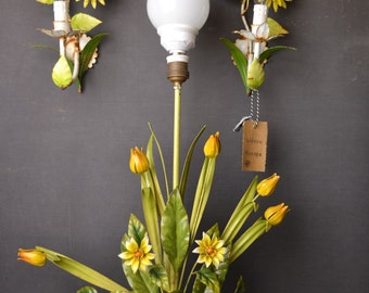 Standing tole flower lamp including 2 sconces (around 1930/40)
