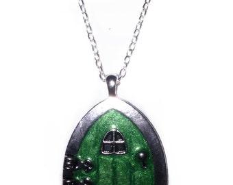 Green Bag End Door Troll fairy Door Pendant Necklace Silver Pendant