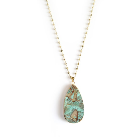 Long Turquoise African Opal Necklace on Rosary Chain