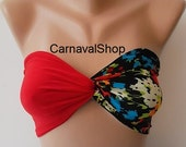 Spandex Bandeau-Swimwear-Swimsuit-Red and black floral