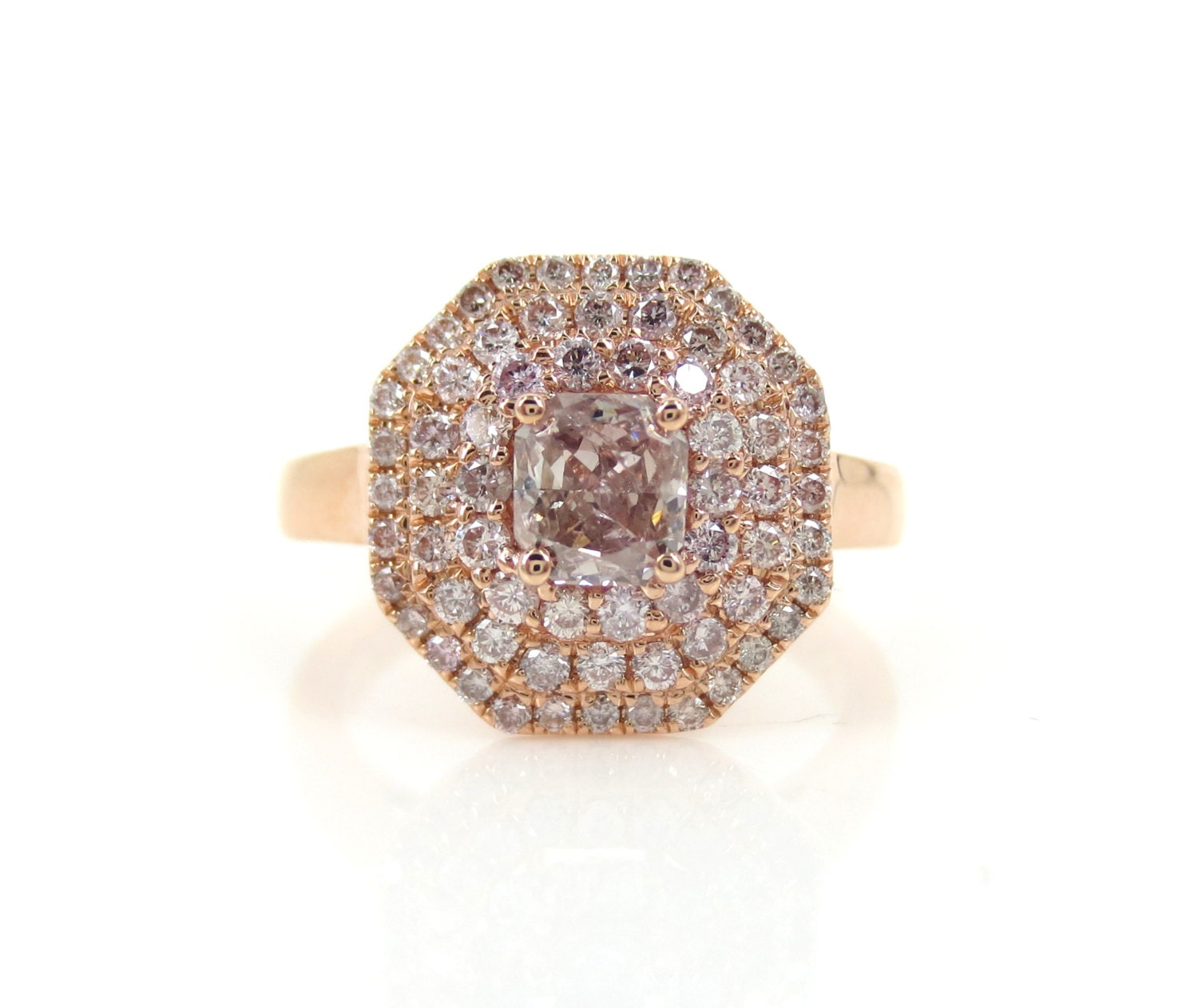 1 14cts Light PINK Diamond Triple Halo Engagement Ring