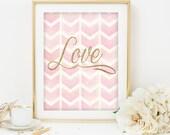Love printable  Gold Glitter Love art print pink and gold printable Typography Wedding Decor love print gold love print gold glitter print