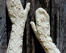 READY TO SHIP, Hand Knitted  Mittens,  Women, Accessories, Gloves & Mittens,Gift Ideas, For Her, Winter Accessories,  Ivory, Long