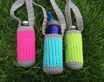 Crochet Water Bottle Holder, Neon and Grey, Water Bottle Pouch, Hiking Buddy, Water Pocket