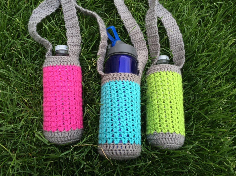 Crochet water bottle holder neon and grey water bottle zoom bankloansurffo Choice Image