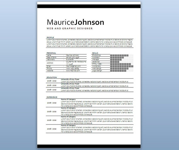 Modern Microsoft Word Resume Template - Maurice Johnson - Resume ...