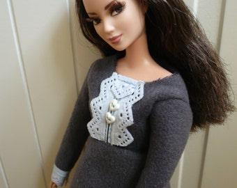 Winter Grey Woolen Dress for Barbie