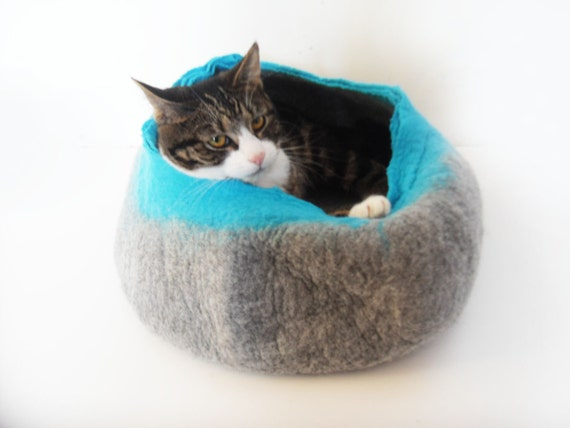 Cat Bed House Basket natural grey and teal