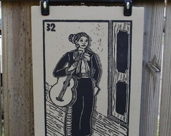 La Musica, Loteria Woodcut Print