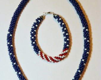 American Patriotic Kumihimo Necklace & Bracelet Tutorials, Instructions, How-To, Digital File