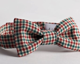Red & Green Check Bow Tie - Cotton Bow Tie with Velcro, Boy's Wedding Bow Tie, Ringbearer Bow Tie, Boy Birthday Bow Tie, Baby Bow Tie