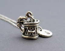 Garbage bin cat Necklace, Stray cat necklace, Trash can, alley cat necklace, alley cat charm jewelry, initial necklace, monogram