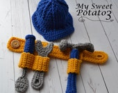 PATTERN Construction Set Tool Belt Hard Hat - Hammer, Wrench, Screwdriver - Crochet