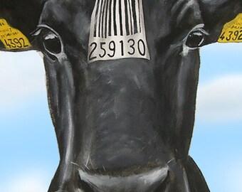 Animal painting portrait painting  Giclee Print Acrylic Painting Illustration Print wall art farm art wall decor Wall Hanging: Barcode Cow 2