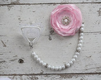 Pink Pearl Pacifier Clip, Flower Pacifier Clip, Convertible beaded Clip, 3 in 1, Bling Baby Girl, Deluxe Soother Clip, two Bracelets,