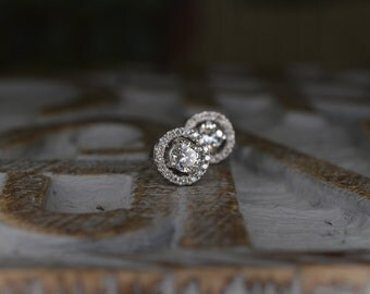 Convertible Diamond Stud Earrings (14K White Gold)