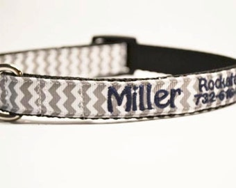 Personalized - Gray Chevron Dog Collar - Made to order