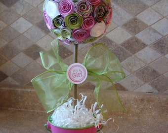 Pink and Green Its A Girl Paper Rose Flower Topiary  for Baby shower, baptism or Birthday Party