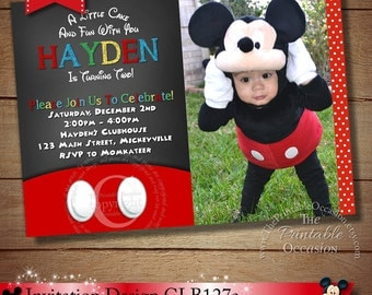 YOU CHOOSE Clubhouse Mickey Birthday Invitation, Chalkboard Mickey Mouse Birthday Invitation,