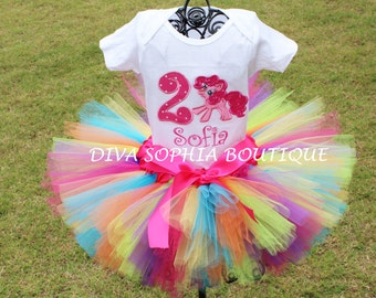 Rainbow My Little Pony Tutu Set  - Pinky PieTutu Set -  Birthday Tutu  Set